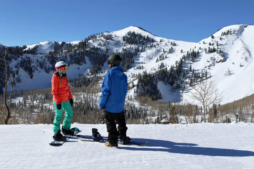 Snowboarders Standing Enjoying View: Esqui Park City